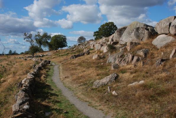 Forkastningszonen er tydelig i umiddelbar nærhed af NaturBornholm. Lokaliteten hedder Klintebakken